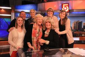 Susan and her family pose for a photo before her final Midday newscast at NewsCenter 5.