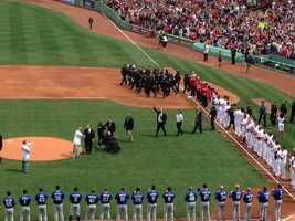 First responders as well as Gov. Deval Patrick and Boston Police Commissioner Ed Davis were led onto the field before the game.