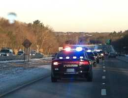 South Shore police department convoy on the way to meet at the staging area in Canton on Route 3 north for Tyler.