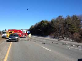 At least one person was injured and all lanes were closed to allow a medflight helicopter landing, police said.