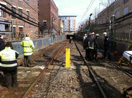 An MBTA Green Line trolley derailed near Fenway.