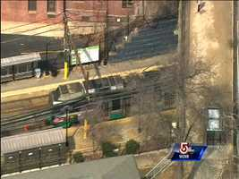 Ten people including the operator of the derailed car were injured, according to Boston EMS.