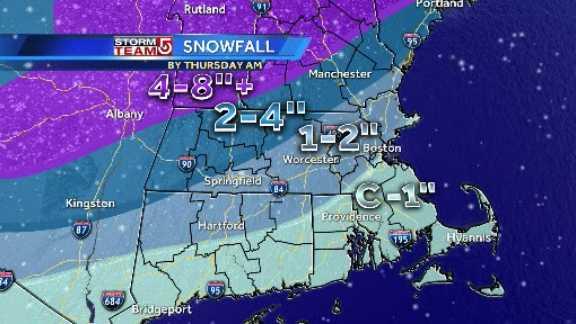Snowfall map 5pm 3.11