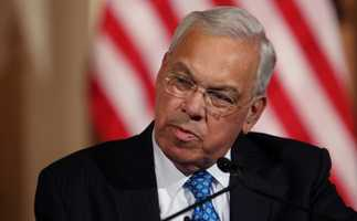 Boston Mayor Thomas Menino speaks at Faneuil Hall, Friday August 9, 2013, in Boston.