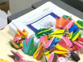 Paper cranes from a school in Gorham, Maine