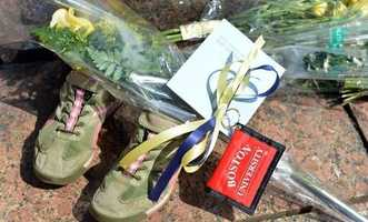 Photo of a bouquet of flowers left at the Copley Square memorial with a BU tag. Internet meme from a collection of Boston Marathon memes gathered by Elena Agapie.