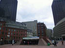 The existing station entrance at the edge of City Hall Plaza.