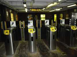 A look inside the station, at the existing fare control area.