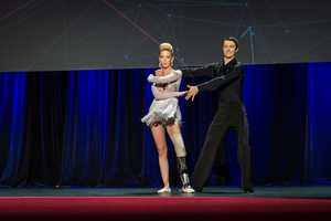 """Her """"bionic dance leg"""" restores the body's natural movements and patterns, allowed her to dance the rumba at the conference."""