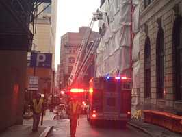 A building under construction at 45 Stuart Street in Boston had a multi-floor building collapse.