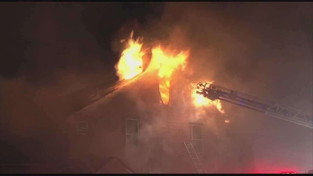 5-alarm fire tears through home