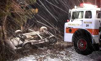 A vehicle rolled over on Brick Kiln Road in Falmouth during the storm.