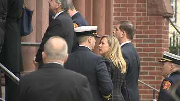 Boston Mayor Marty Walsh attends the funeral for Boston Fire Lt. Ed Walsh.