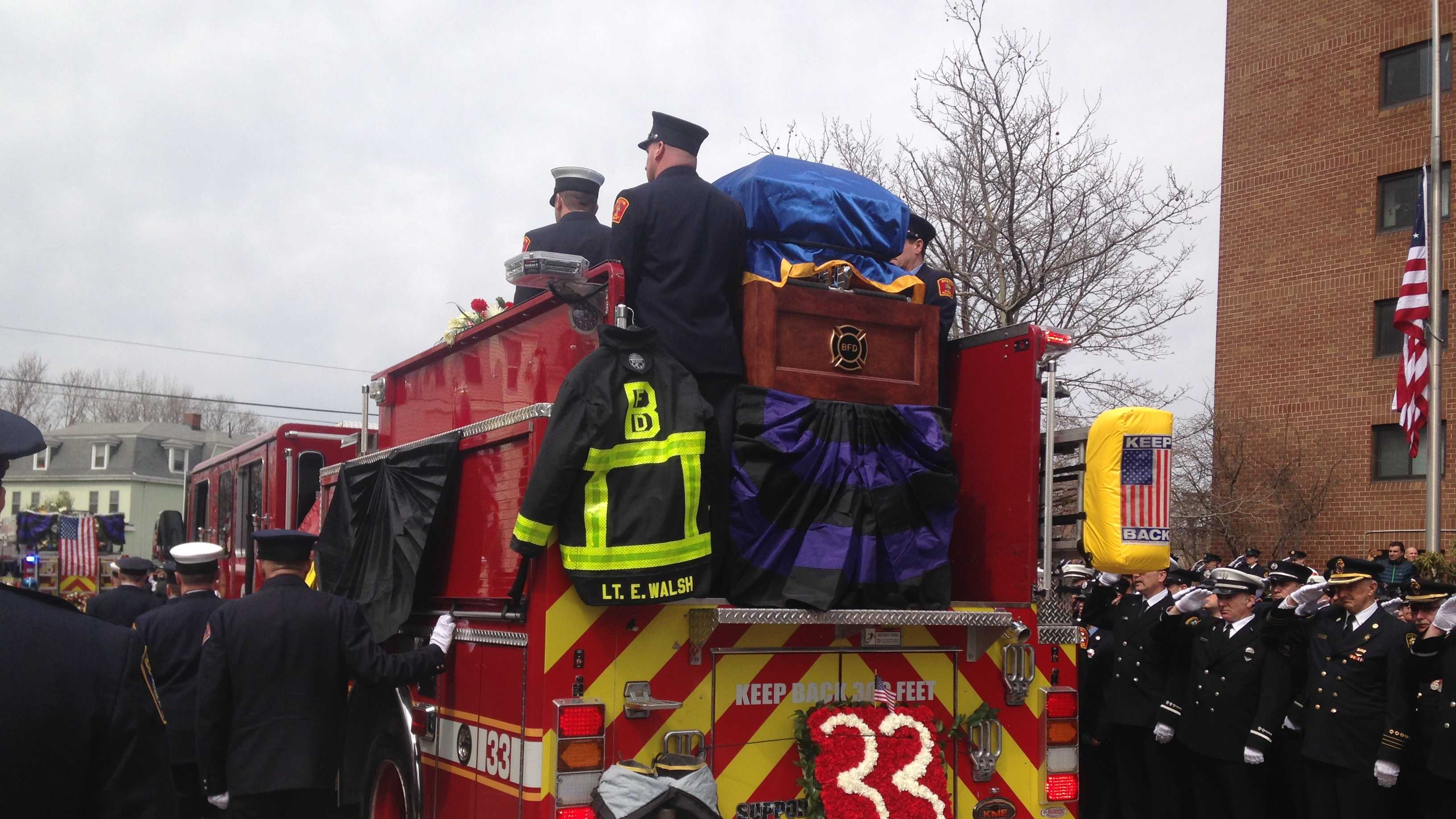 Walsh Funeral Casket on Engine after funeral 4.2.14