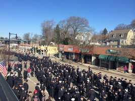Firefighters on Centre Street in West Roxbury