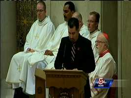 Cardinal Sean O'Malley was part of the mass remembering firefighter Michael Kennedy.