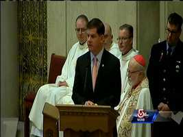 Boston Mayor Marty Walsh speaks at the funeral for Michael Kennedy.
