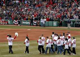 At Opening Day, the Sox honored survivors of the Boston Marathon bombing.