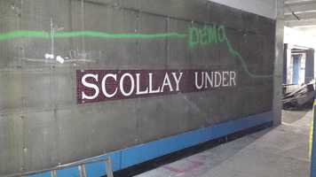 "100-year-old ""Scollay Under"" mosaics were uncovered by Massachusetts Bay Transportation Authority construction crews."