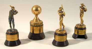 Lot of early career Johnny Pesky related baseball trophies