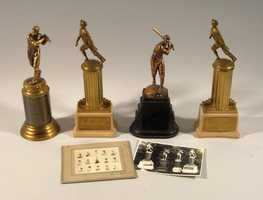 Lot of (4) late 1930s Johnny Pesky trophies.