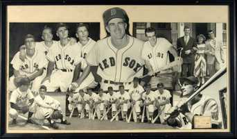 Vintage Johnny Pesky et al. large format photographic display c.1940s-1950s.
