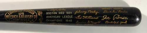 Johnny Pesky's 1946 Boston Red Sox AL Champions commemorative black bat.