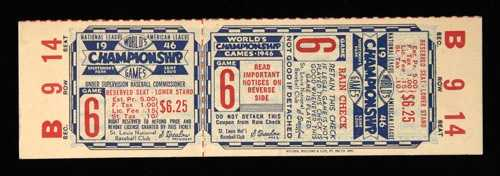 1946 World Series Game (6) full ticket (at St. Louis).