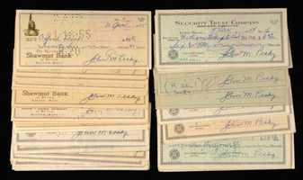 Lot of (60) 1950s Johnny Pesky signed personal checks.