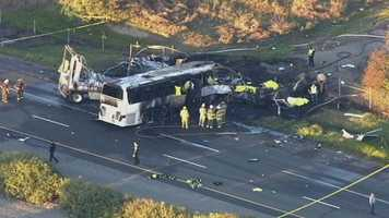 Preliminary reports indicate the FedEx truck, traveling south, drifted into I-5's northbound lanes and hit the tour bus head on, according to KRCR.