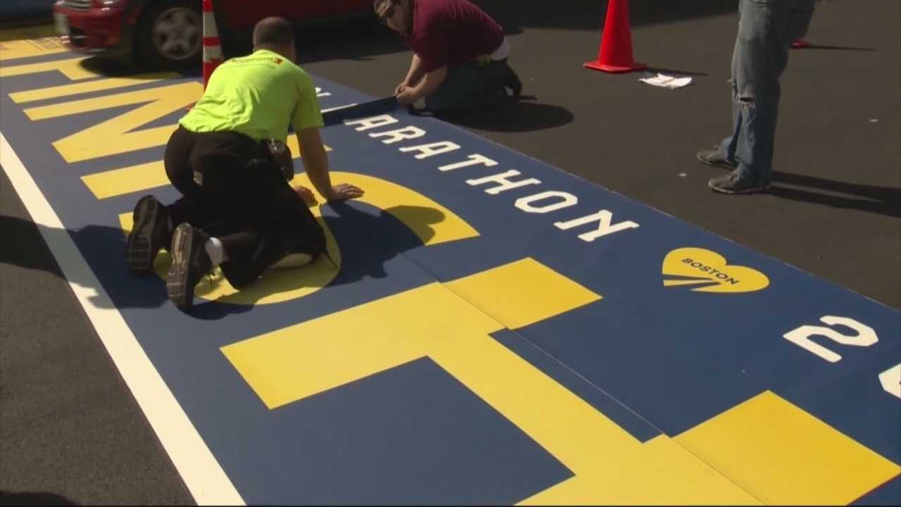 Vinyl finish line installed for Boston Marathon