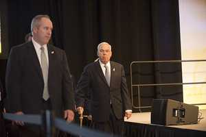 Former Mayor Tom Menino received a standing ovation as he walked to the stage.