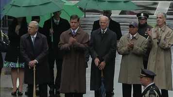 Former Mayor Thomas Menino, Mayor Marty Walsh, Vice President Joseph Biden and Gov. Deval Patrick.