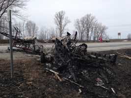 Remains of the plane that crashed Friday afternoon in Highgate, Vt.