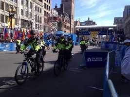 Police bike patrol units at the finish line of the 2014 Boston Marathon.