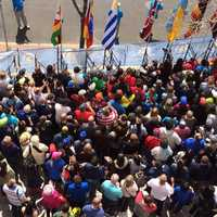 A look at the large crowd near the finish line of the Boston Marathon.