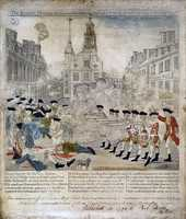 1770: Boston Massacre: Tensions aroused from British troops' presence in Boston, culminated in 5 men dying, when troops fired at colonists at the Customs House on March 5.
