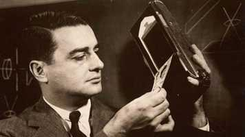 "1947: Edwin Land demonstrates ""one-step photography system"" -- the first Polaroid Land Camera."