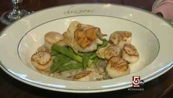 From the pan seared scallops, with heirloom low-gluten wheat, from a local farm...