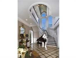 The elegant two-story foyer.