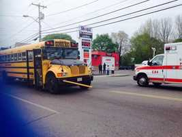 Three children were struck at a bus stop in Brockton by a hit-and-run driver on Thursday morning, police say.