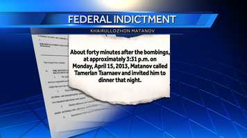 About 40 minutes after the bombings, at approximately 3:31 p.m. on Monday, April 15, 2013, Matanov called Tamerlan Tsarnaev and invited him to dinner that night. Tamerlan accepted.