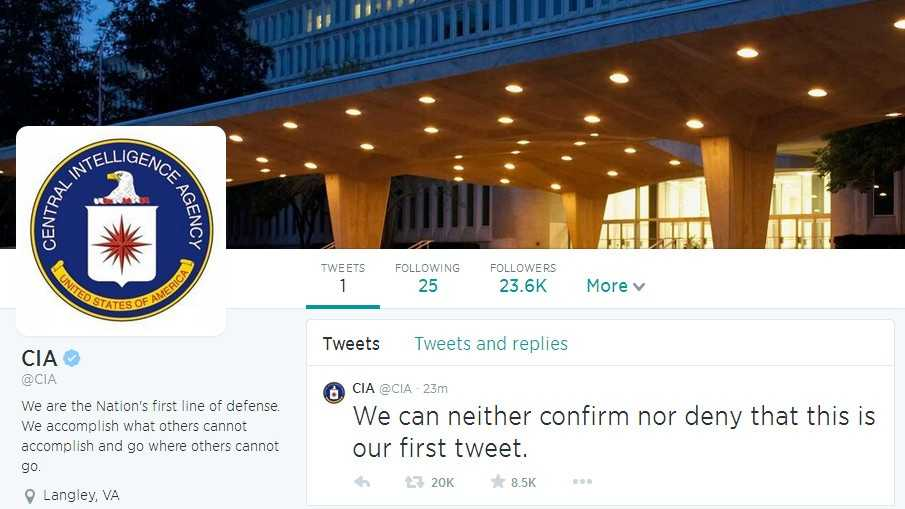 The CIA joins Twitter, Facebook
