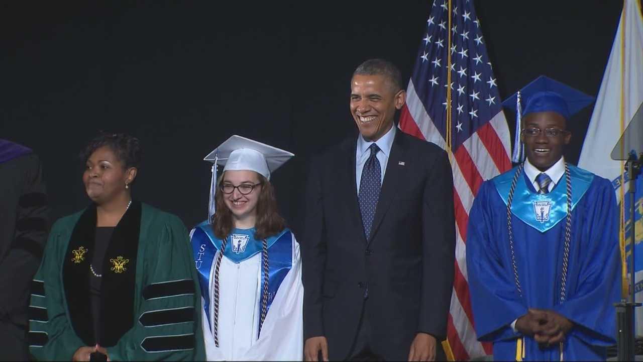 Pres. Barack Obama salutes graduates at Worcester Tech