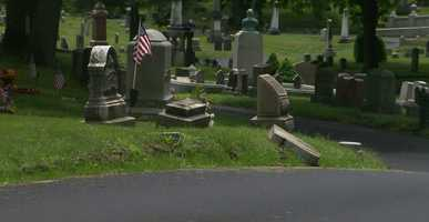 Woburn police said Saturday that 24 headstones were tipped over or damaged at the Woodbrook Cemetery on Salem Street.