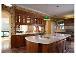 The renovated kitchen is a chef's dream complete with professional appliances, island, and breakfast room.