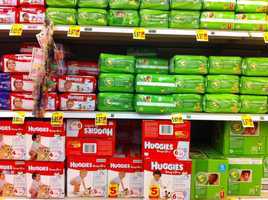 10. Diapers: The grocery markup on diapers is hefty because, like with batteries, when you need them, you really need them.