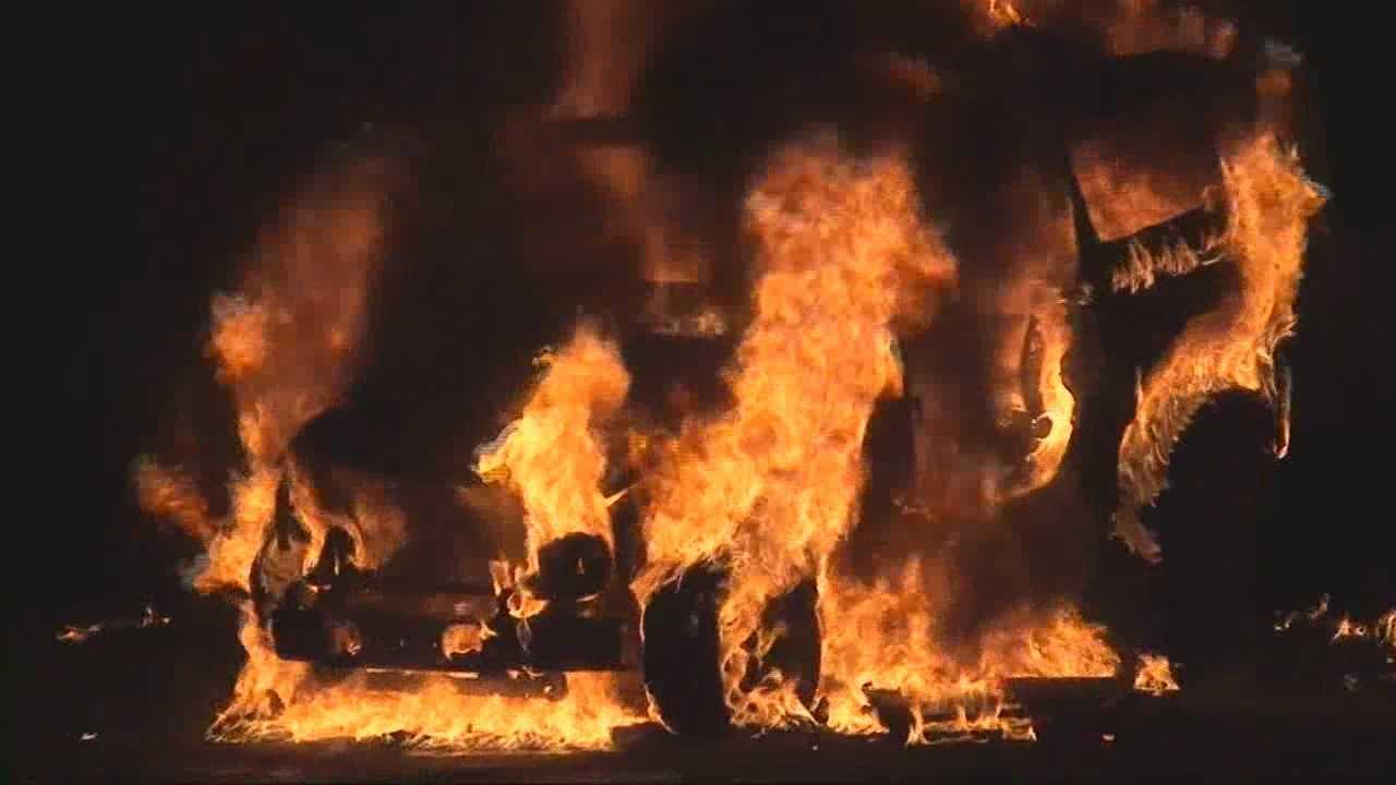 Woman escapes fiery crash
