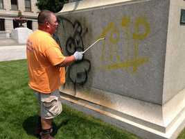 A groundskeeper noticed the graffiti Friday morning, according to Boston Magazine.