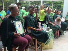 The fifth annual 46 Mommas: Shave for the Brave event was held at the Prudential Center and hosted by NewsCenter 5's Rhondella Richardson.